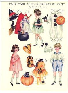 POLLY PRATT GIVES A HALLOWE'EN PARTY Painted by Sheila Young for Good Housekeeping, October 1920 | 3 dolls, 3 dress-up party costumes with appropriate props