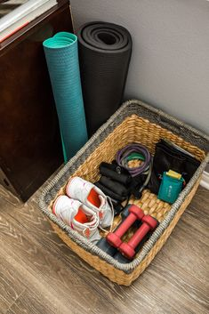 an Organized Area for Workout Gear Create an organized area for all your workout gear right in your own home. It'll be stylish, yet functional!Create an organized area for all your workout gear right in your own home. It'll be stylish, yet functional! Gym Room At Home, Workout Room Home, Workout Rooms, At Home Workouts, Workout Equipment For Home, Workout Room Decor, Workout Gear, Workout Days, Workout Attire