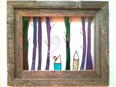 """""""Two Cabins in the Woods"""" open air stained glass wall art framed in rustic barnwood frame."""