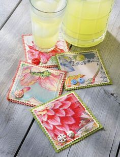 Hankie Coasters - Crafts 'n things (interesting concept would work with any fabric, like blue delft china patterned fabric to match dishes)