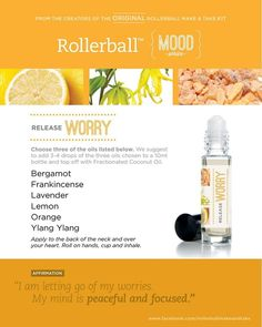 Essential oil roller bottle recipe to release worry.