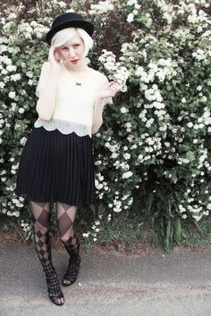 Lace and pleats! (by Elin .) http://lookbook.nu/look/809257-lace-and-pleats
