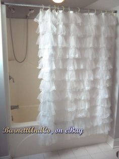 Romantic Shabby SHOWER CURTAIN, girly fluffy white lace ruffles - cottage chic