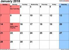 january 2018 calendar holidays