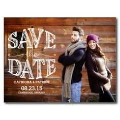 Rustic Hand Lettering Save the Date Postcard