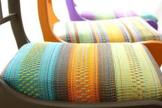 Colourful handwoven chair seats by Angie Parker - I must try to weave a new seat cover for my sewing bench.