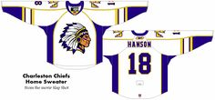 Charlestown Chiefs Home Sweater - A modern version of the jerseys from the movie Slap Shot Slap Shot, Ice Hockey, Badass, Sweater, Sport, Modern, Movies, Jumper, Deporte