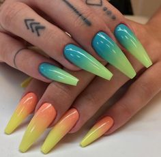 Mis any pastel colors you prefer and you'll get a beautiful summer manicure. Red ombre on the nails may additionally be accomplished by accumulation red with different colours. Dope Nails, Nails On Fleek, Fun Nails, Nails Yellow, Green Nails, Gorgeous Nails, Pretty Nails, Rainbow Nail Art, Nagellack Trends