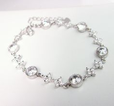 Clear white cz bracelet - Free US shipping. $39.00, via Etsy.