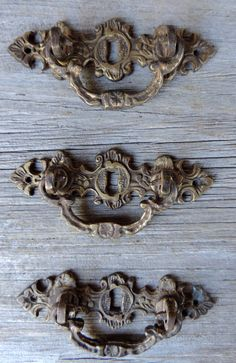 Vintage Drawer Handles Antique Brass with by VintagePolkaDotcom