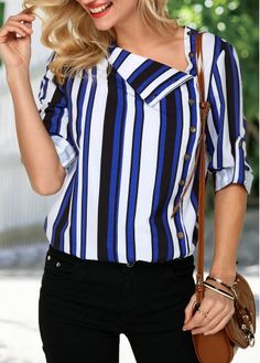 Button Detail Roll Tab Sleeve T Shirt Church Fashion, Casual Outfits, Fashion Outfits, Trendy Clothes For Women, Shirt Sale, Stripe Print, Shirt Outfit, Casual Looks, Plus Size Outfits