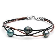 Tahitian Baroque Pearl and Leather Bracelet ($167) ❤ liked on Polyvore featuring jewelry, bracelets, accessories, pulseiras, twisted leather bracelet, initial bracelet, leather bangle, twisted bracelet y initial jewelry