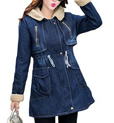7e8a3a144e6a Women s Coat Plus Size · Pivaconis Womens Winter Faux Fur Lined Hooded Long Denim  Jean Jacket Trench Coats Denim Jacket With