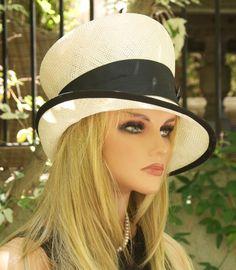 Mad Hatter Angled Cloche. Cream Ivory & Black Hat. Ladies Formal Hat. Special Occasion Hat. Church Hat, Wedding Hat, Derby Hat