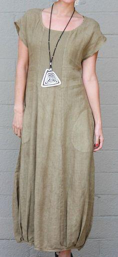 FENINI USA  Linen Blend LONG DRESS  w/ Ribbed Vertical Detail  1X  2X  3X  SEED #FENINI #Versatile #Casual