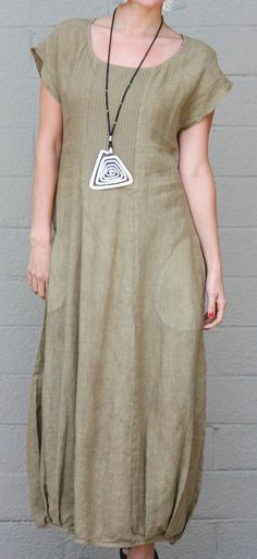 FENINI USA Linen Blend LONG DRESS w/ Ribbed Vertical Detail 1X 2X 3X SEED #FENINI #Versatile #Casual