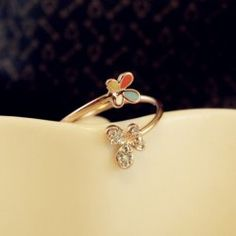 $5.17 Cute Diamante and Colored Glazed Butterfly Embellished Alloy Ring For Women