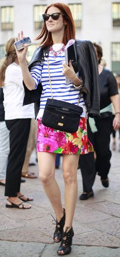 Street Style l Taylor Tomasi Hill: leather jacket x striped shirt x floral printed skirt x lace-up booties x statement necklace x chanel bag