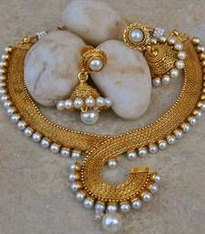Buy Antique Moti Pearl Necklace Set with Jhumka necklace-set online