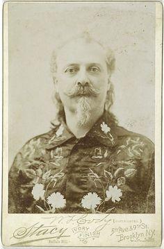 Cabinet Card of Hatless Portrait of Buffalo Bill by Stacy.