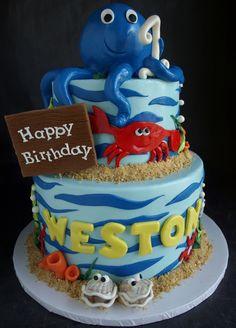 first birthday shark cakes | ... shark, clam cake, ocean cake, sea creatures cake, first birthday cake