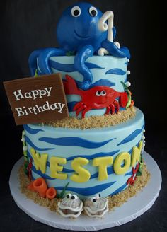 Shark Clam Cake Ocean Sea Creatures First Birthday
