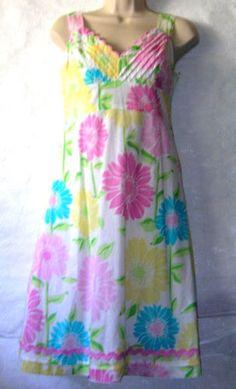 Size-6-Lilly-Pulitzer-White-Cabana-Sunflower-Dress-Sundress-Pink-RickRack