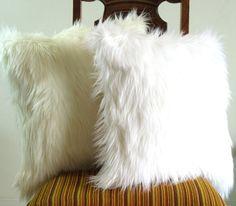 White fur pillow throw 18 X 18 fluffy white fur white linen pillow cover decorative Set of TWO via Etsy