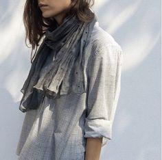 April 2015: Margaret Howell shirt and scarf. Bloodorange Sydney