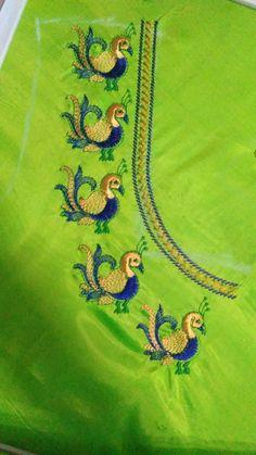 Cutwork Blouse Designs, Simple Blouse Designs, Blouse Neck Designs, Peacock Embroidery Designs, Latest Embroidery Designs, Machine Embroidery Designs, Hand Embroidery Dress, Embroidery Works, Kutch Work Designs