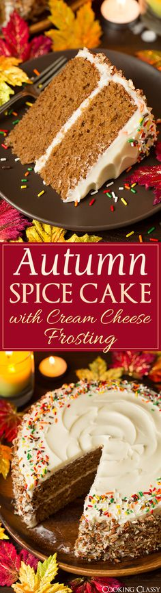 Autumn Spice Cake with Cream Cheese Frosting – it's DREAMY! Incredibly moist an… Autumn Spice Cake with Cream Cheese Frosting – it's DREAMY! Incredibly moist and tender, and perfectly spiced. This cake and my pumpkin cake are my FAVORITE fall cakes! Mini Desserts, Fall Desserts, Just Desserts, Christmas Desserts, Thanksgiving Desserts, Fall Dessert Recipes, Oreo Desserts, 4th Of July Desserts, Fall Dinner Recipes