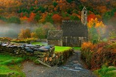 ST. KEVIN'S AUTUMN KITCHEN … Glendalough, County Wicklow  St. Kevin's Church, better known as St. Kevin's Kitchen, is a nave-and-chancel church of the 12th century … one of the surviving buildings of an extensive monastic city in the stunning setting of the Wicklow Mountains.  via Ireland and Peg's Cottage FB