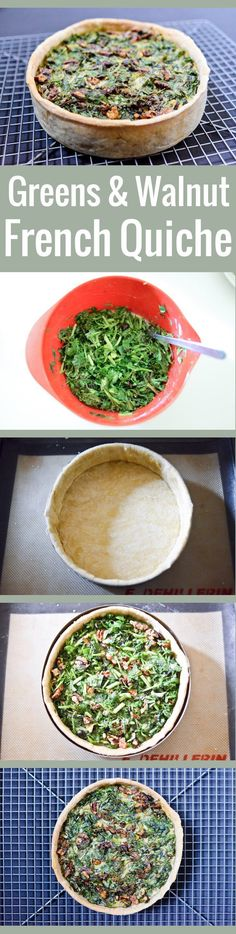 Tired of eating your greens in salads? Get your veggie fill with this versatile and easy green quiche recipe, with an olive oil crust and lots of walnuts!