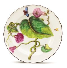 A CHELSEA PORCELAIN 'HANS SLOANE' BOTANICAL PLATE CIRCA 1755 -    painted in the center with a large sprig of prickly green-stemmed convolvulus and two winged insects within the shaped brown-edged rim, red anchor mark. diameter 9 5/16 in. 23.7 cm