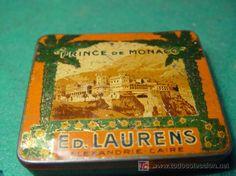 PRINCE DE MONACO - ED. LAURENS - ALEXANDRIE - CAIRE - ANTIGUA CAJA METAL DE TABACO EGIPCIO - VACIO - Prince Monaco, Vintage Tins, Metal Box, Cover, Egyptian, Tin Cans, Antigua, Cairo
