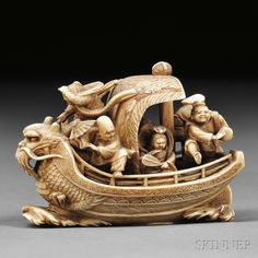 "Ivory Okimono-style Netsuke of Takarabune, Japan, 19th/20th century, with the Seven Lucky Gods on board, the bow decorated with carved dragon, the stern with wave designs, signed ""Seiraku"" to base, ht. 2, wd. 3 1/8 in."