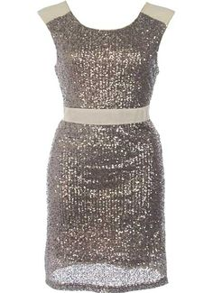 Cosmic Shimmer Dress: Features neutral trim at shoulders and waist for an optical illusion effect, sequin covered front and back with tonal liner for full coverage, slightly fitted design to accentuate your form, and a rear zip closure to finish.