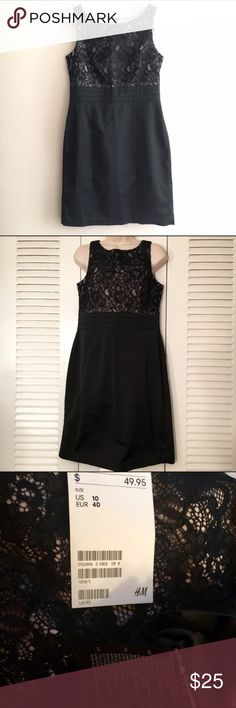 "NWT H&M black shift dress with lace bodice size 10 NWT H&M black shift dress with lace bodice size 10 Beautiful black dress, size 10 NWT from H&M. Great for you to wear to your next event, and super comfy as well. Comes from a pet-free, smoke-free home.  Measurements Length 37"" Bust 36"" Waist 32"" Hips 40"" H&M Dresses Mini"