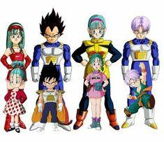 Bulla, Vegeta, Bulma e Trunks Dragon Ball Gt, Dragon Ball Z Shirt, Vegeta Y Bra, Goku Y Vegeta, Manga Anime, Anime Art, Vegeta And Trunks, Manga Games, Chibi