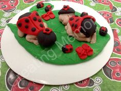 Twin Babies Cake Topper - LadyBugs on a LARGE Leaf great for BABY SHOWER two babies are better them one Black and Red Vanilla Fondant by anafeke on Etsy https://www.etsy.com/listing/152699563/twin-babies-cake-topper-ladybugs-on-a