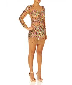 SHIMMER - Nude sheer bodycon dress with multi coloured embellishment - Side