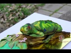 Kricky Cakes Decoration: airbrushed Chameleon cake tutorial - YouTube