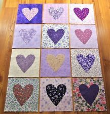 "Set of 12 Beautiful Scrappy Purple Heart   6"" x 6"" Cotton Quilt  Blocks"