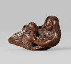 Mermaid Nursing Her Baby Netsuke