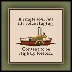 Patreon Only Over the Garden Wall Cross Stitch Pattern Steamboat Song Quote