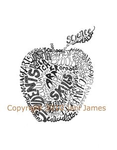 Gifts for Teachers Apple Typography Word Art,  Teachers Gift Apple Art Calligram or Teacher Art Calligraphy Illustration. $19.50, via Etsy.