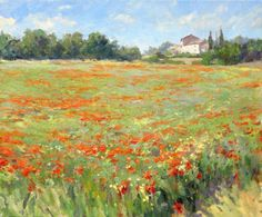 The redness of the poppies in Edward Noott�s painting is so striking that the landscape almost becomes abstract. Description from john-noott.com. I searched for this on bing.com/images