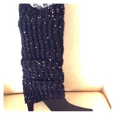 Black & Silver Sequin leg warmers New black sweater knit with silver sequins cute! Rue 21 Accessories