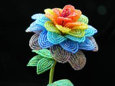 Rainbow Hued Stylized Rose French Beaded Flower by BeadedFleur, $25.00