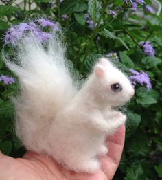 Needle Felted White Squirrel Albino by ClaudiaMarieFelt on Etsy